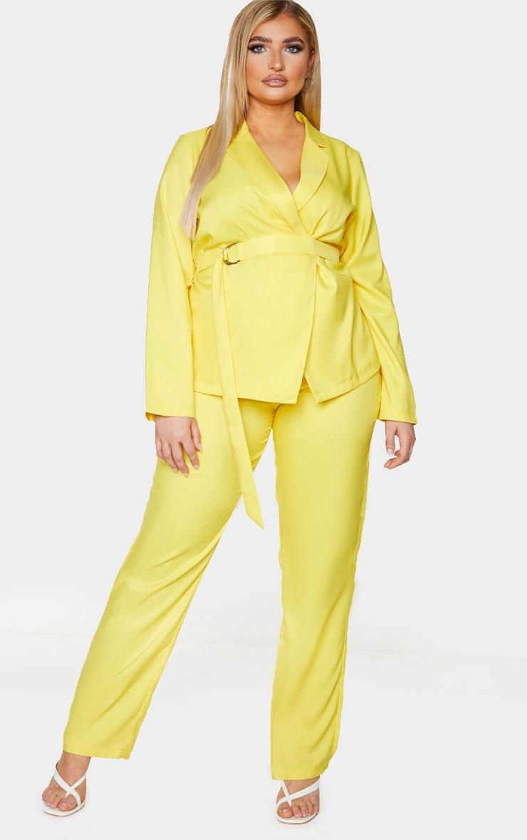 Plus Bright Yellow Tapered Straight Leg Pants 1