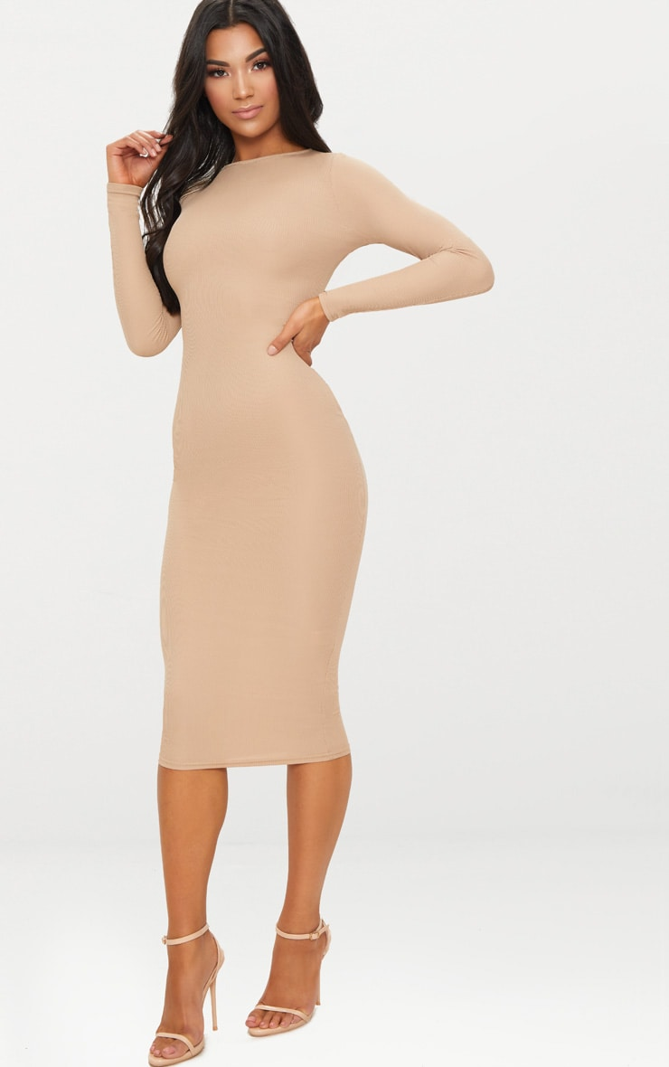 Basic Stone Ribbed Long Sleeve Midi Dress