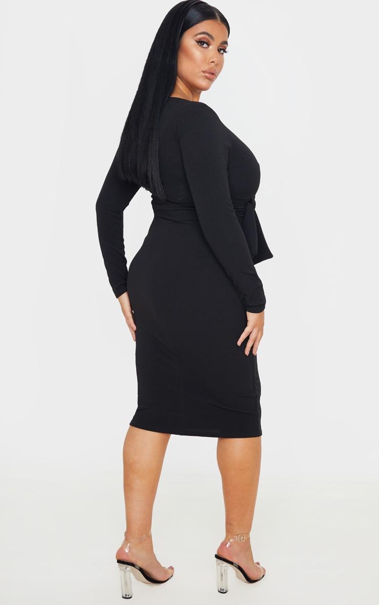 Plus Black Long Sleeve Wrap Waist Midi Dress 2