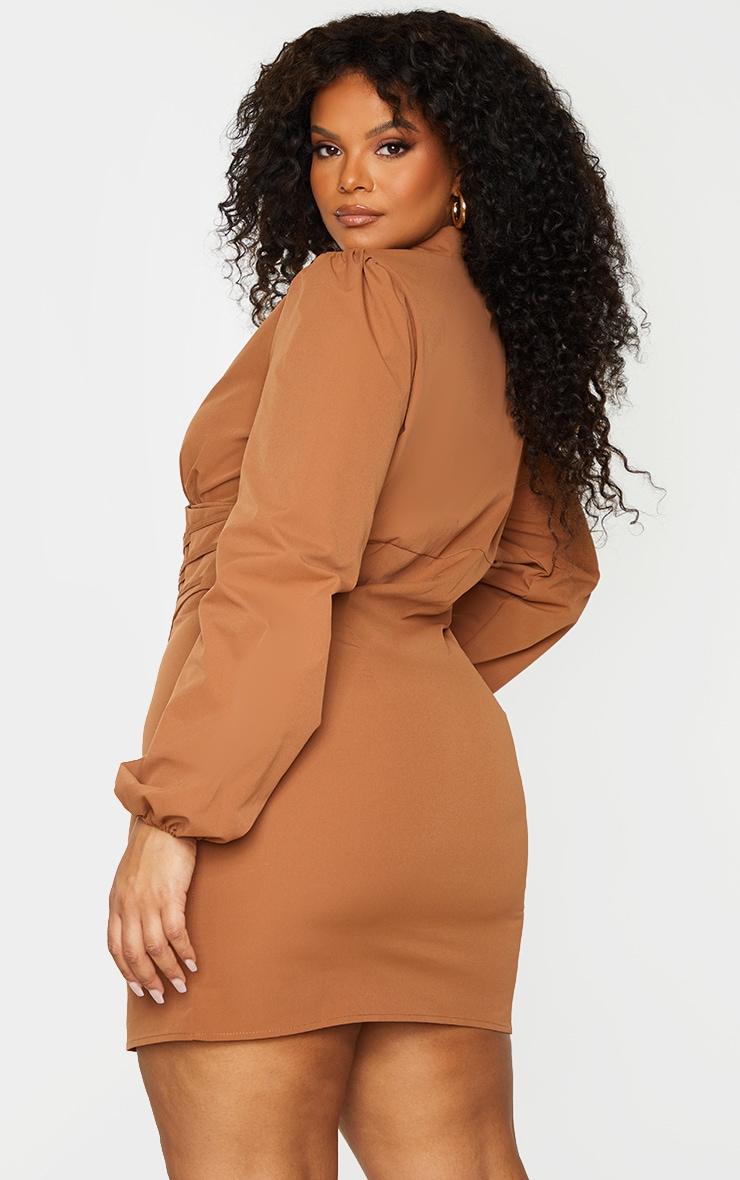 Plus Chocolate Brown Corset Detail Puff Sleeve Dress 2