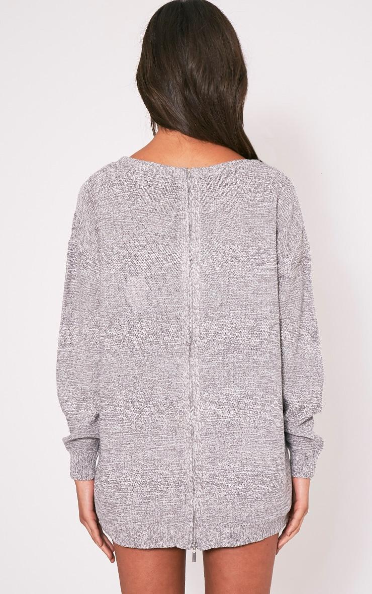 Hadiya pull tricoté à fermeture éclair au dos gris 2