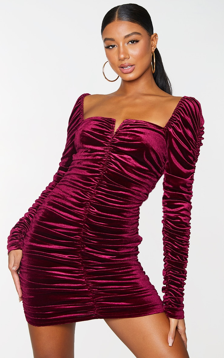 Wine Velvet Long Sleeve Ruched V Neck Bodycon Dress 1