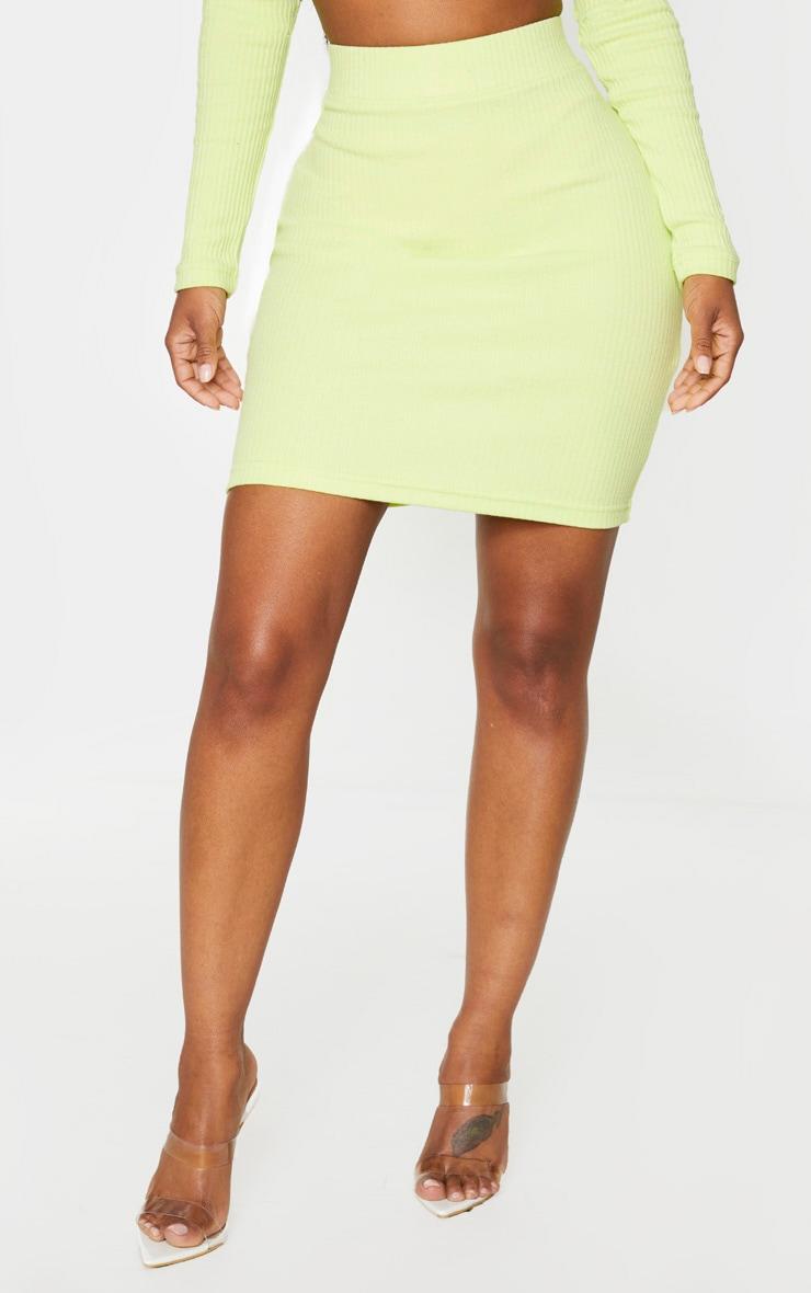 Shape - Jupe moulante vert citron très côtelée 2