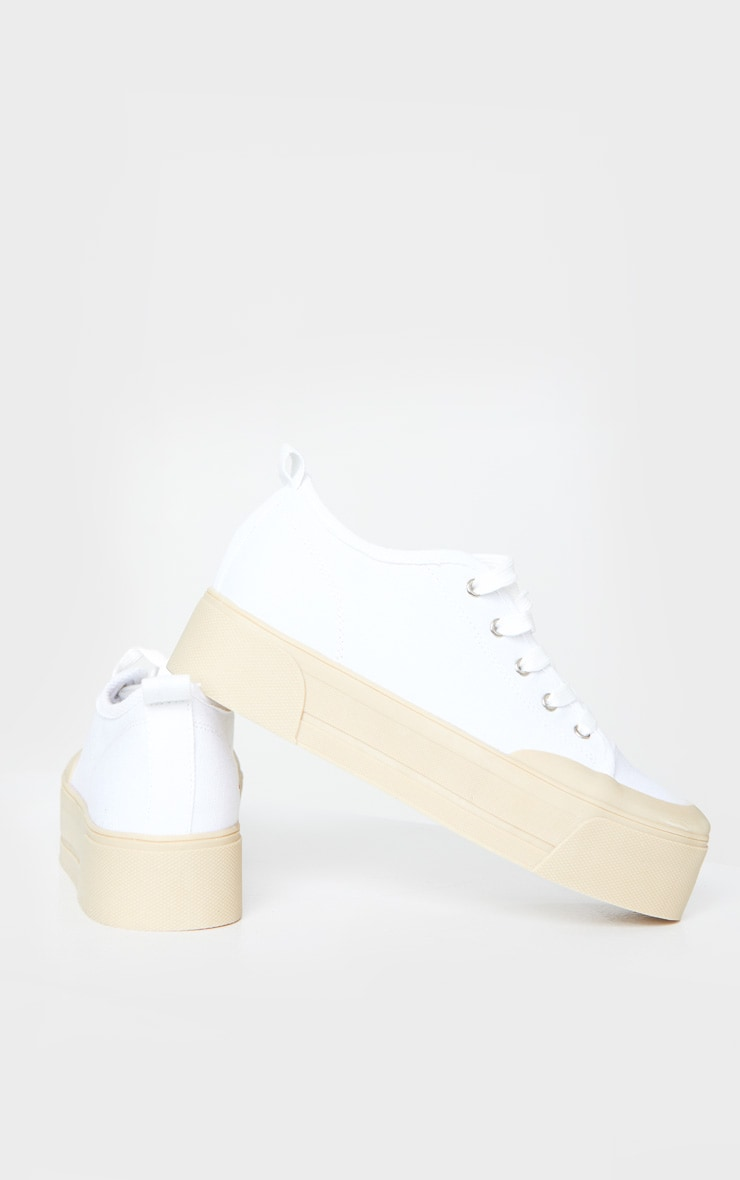White Flatform Lace Up Canvas Sneakers 4