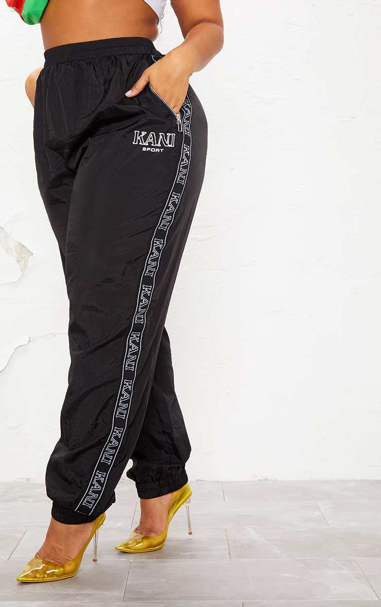 KARL KANI Black Tape Printed Shell Joggers 4