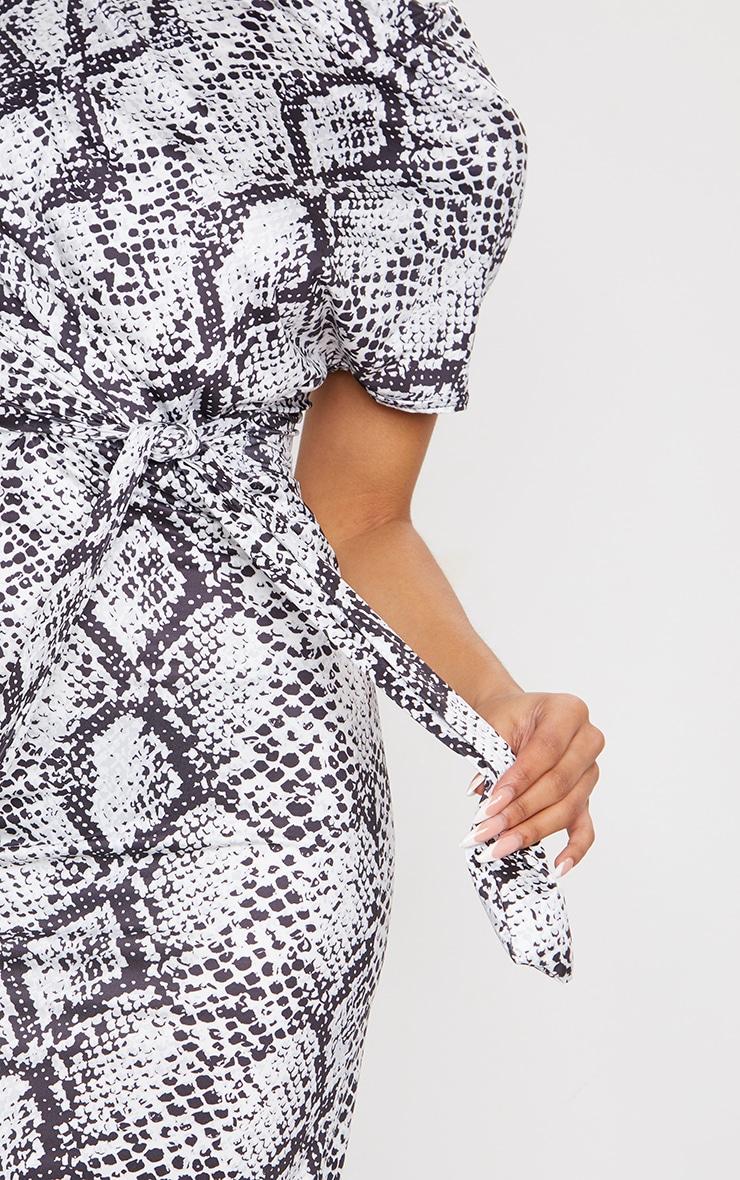 Grey Slinky Snake Print Wrap Detail Shift Midi Dress 4