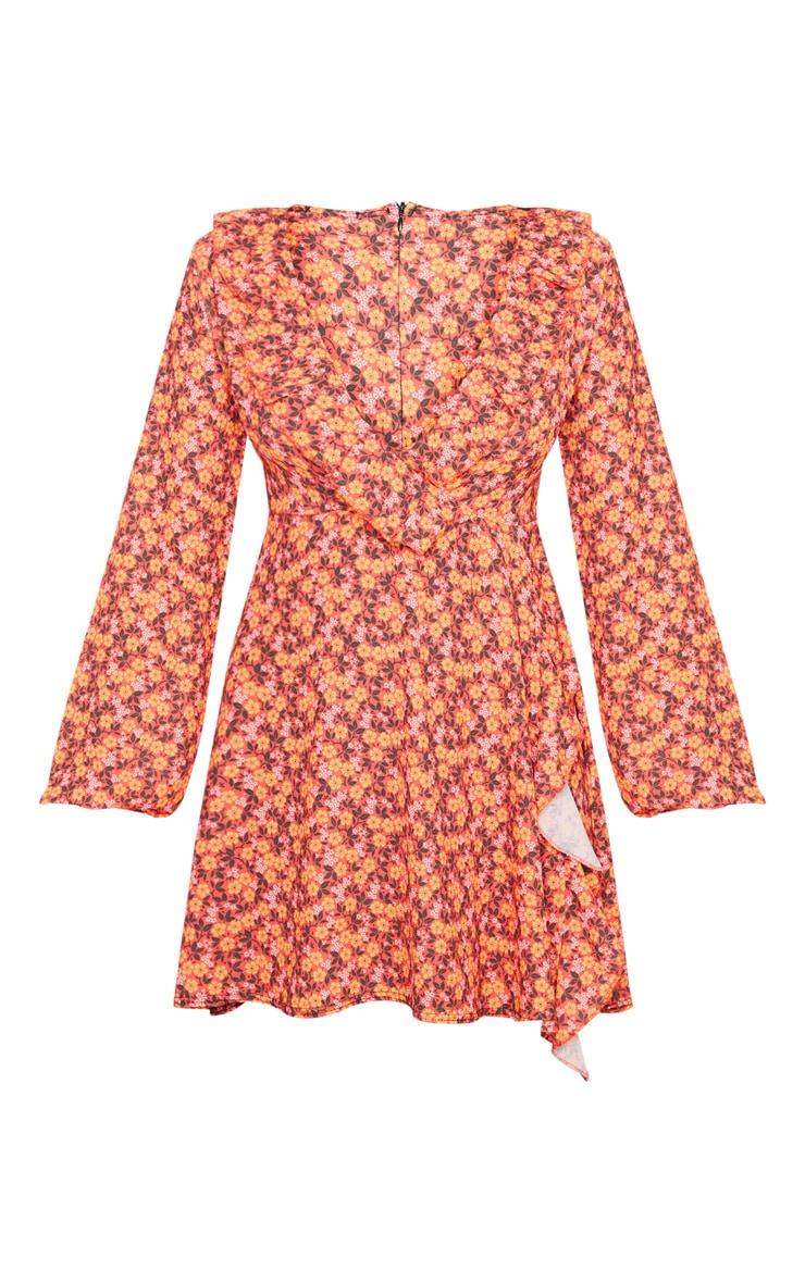 Red Daisy Print Frill Detail Tea Dress 5