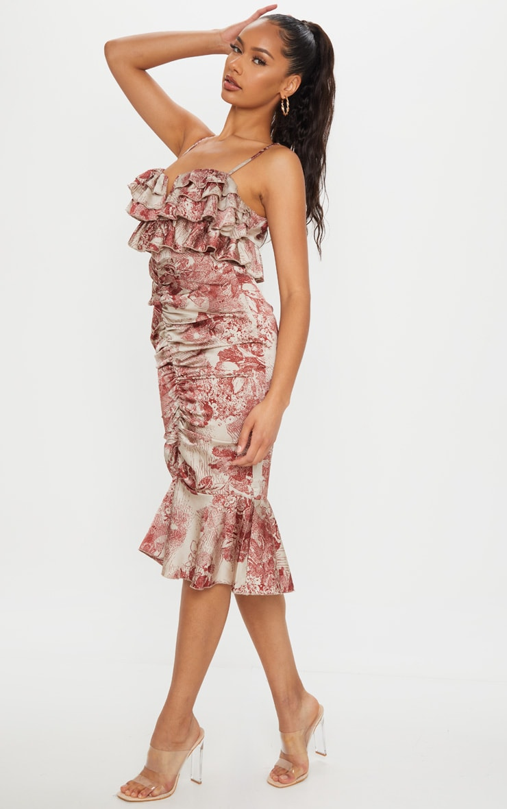 Burgundy Floral Ruffle Detail Gathered Front Midi Dress 3