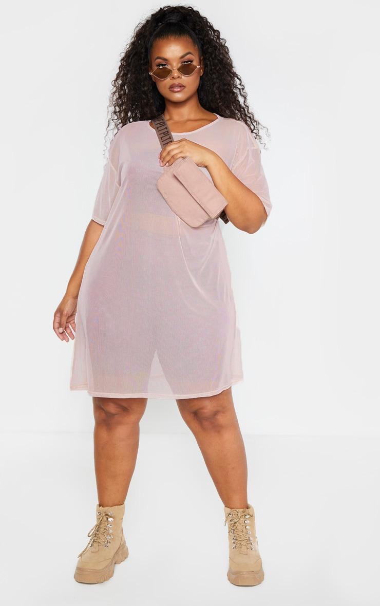 Plus Stone Sheer Mesh Oversized T Shirt Dress 4