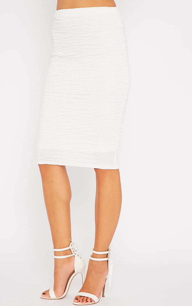 Lilly White Crinkle Midi Skirt 5