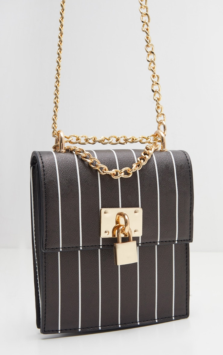 Black Vertical Stripe Structured Chain Bum Bag 3