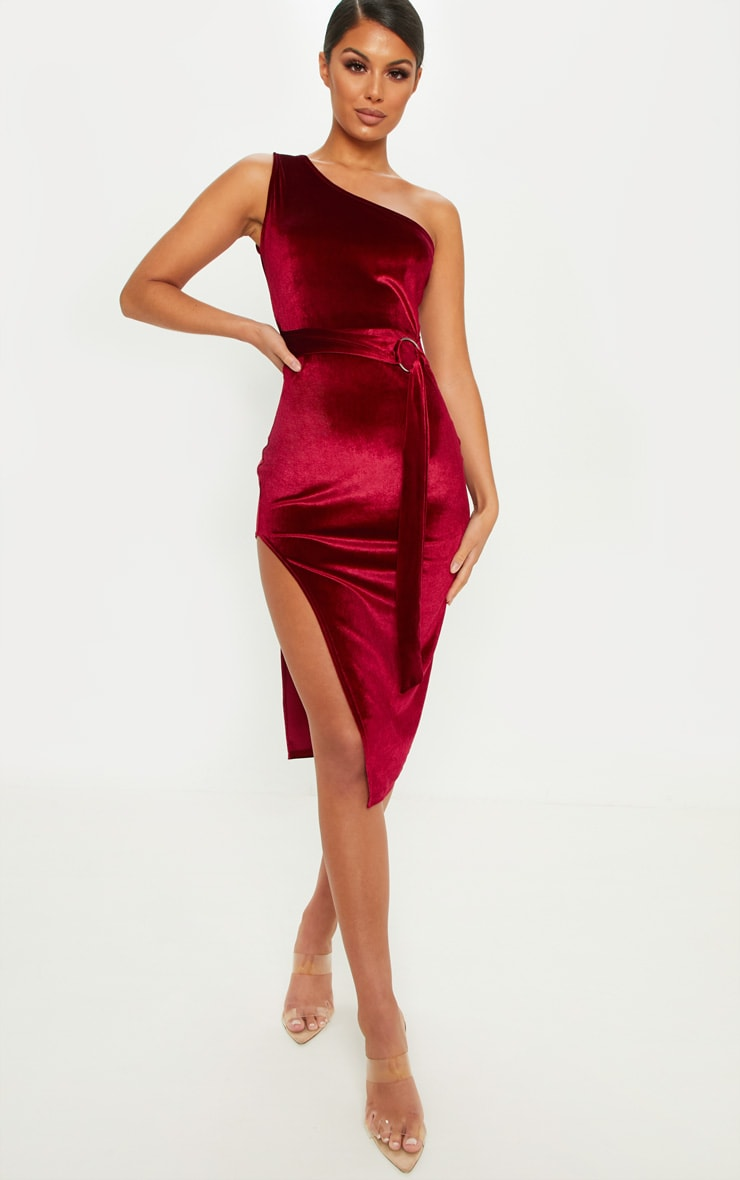 Burgundy One Shoulder Velvet Midi Dress 1