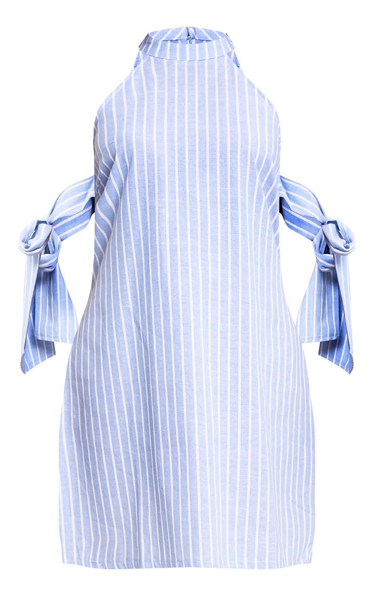Blue Striped Tie Sleeve Shift Dress  3