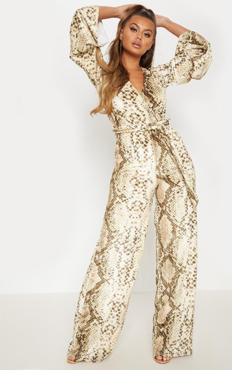 Beige Snake Print Velvet Tie Waist Jumpsuit 1