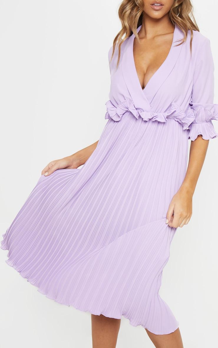 Lilac Frill Detail Pleated Midi Dress 5