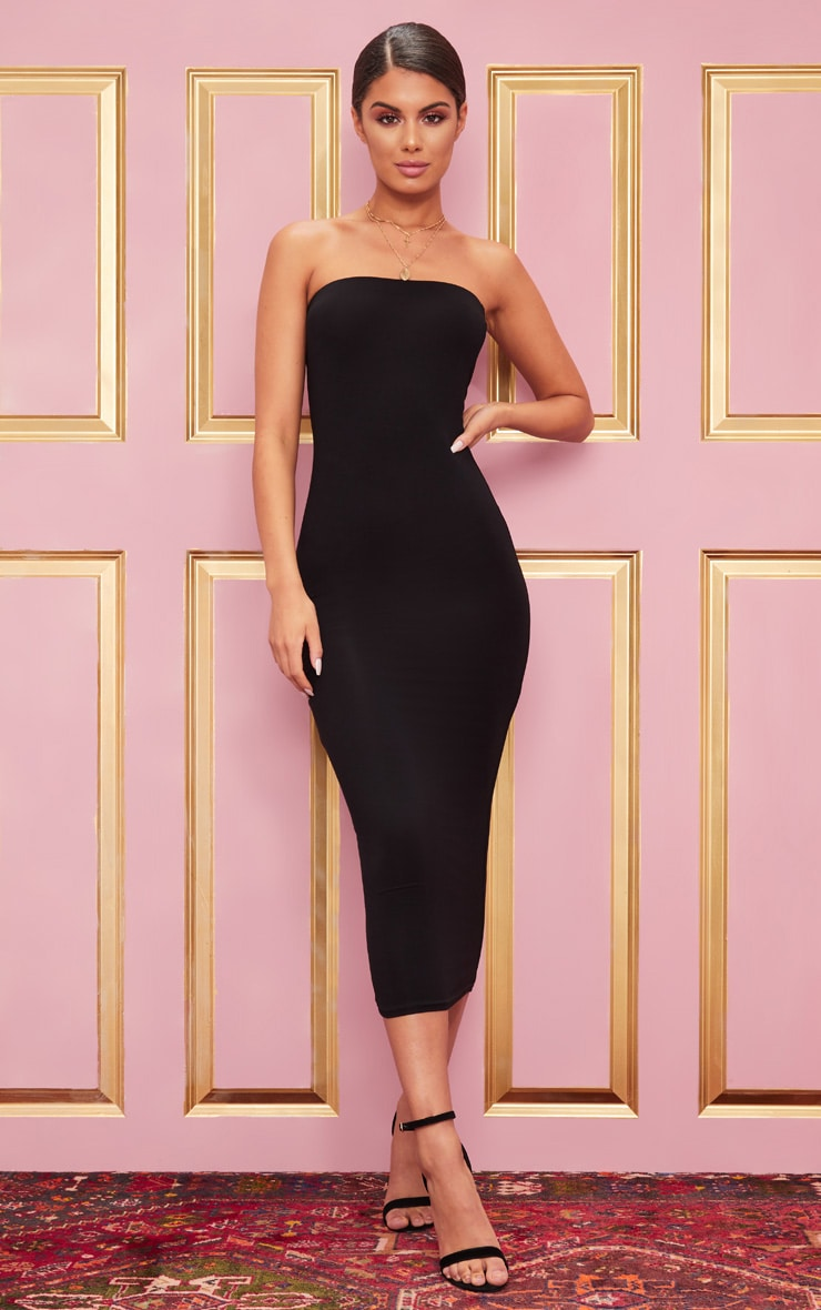 Basic Black Bandeau Midaxi Dress 2