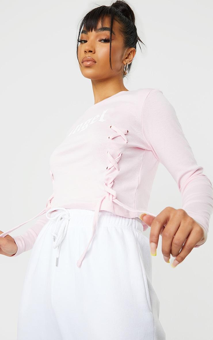 Baby Pink Angel Printed Lace Up Long Sleeve Crop Top 4