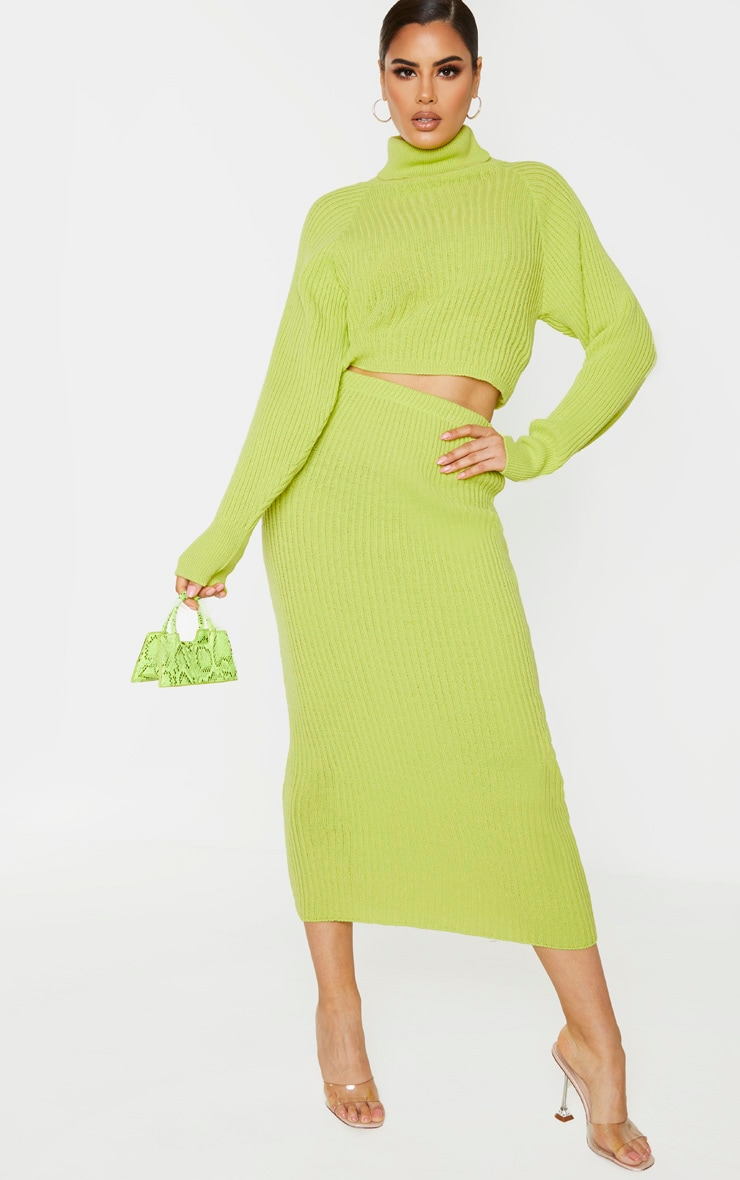 Tall Neon Green Knitted Midi Skirt 1