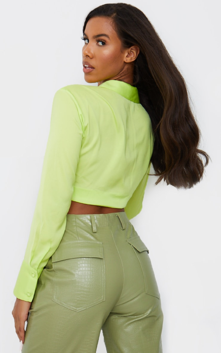 Lime Satin Collared Twist Front Cropped Shirt 2