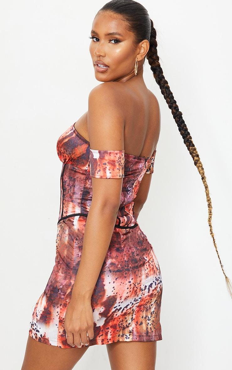 Multi Tie Dye Print Bardot Lace Up Corset Bodycon Dress 2