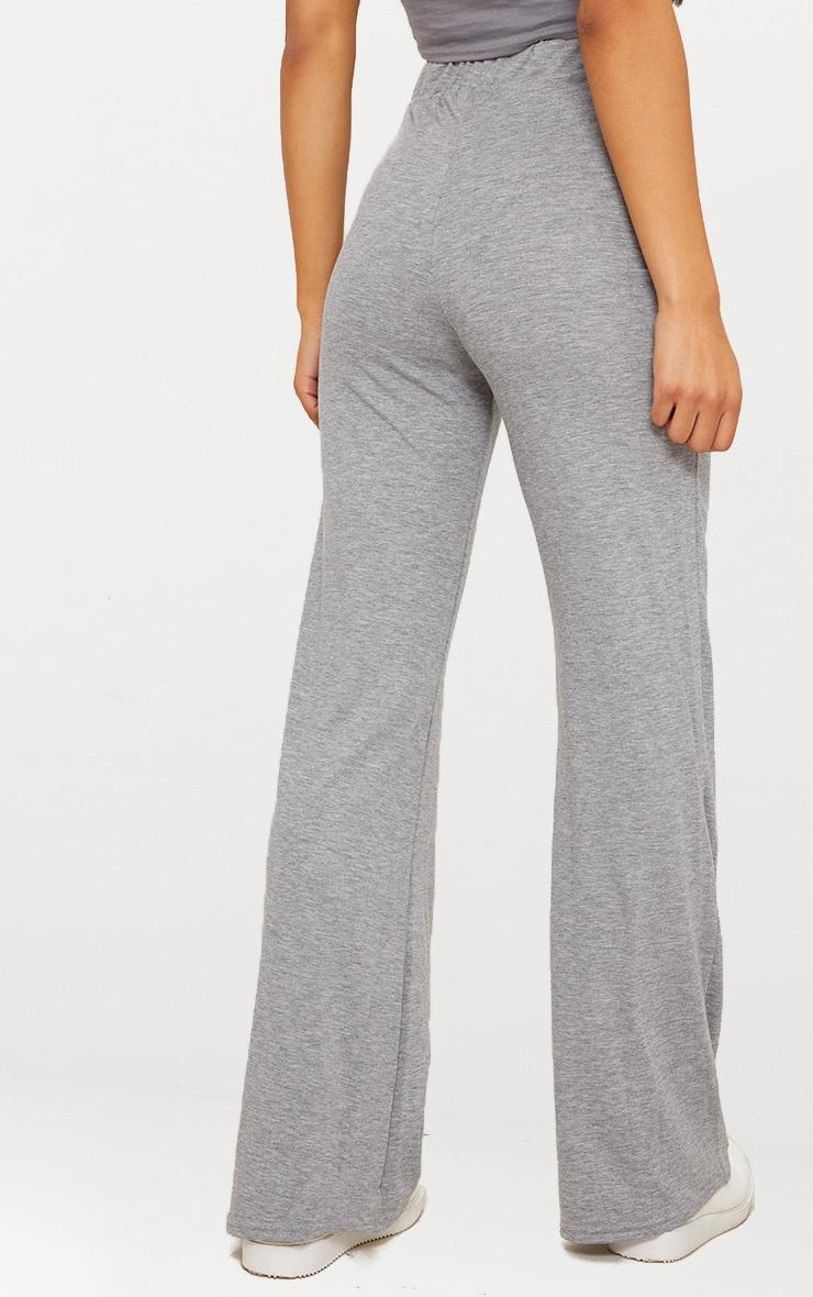 Grey Marl Basic Jersey Wide Leg Trousers  4