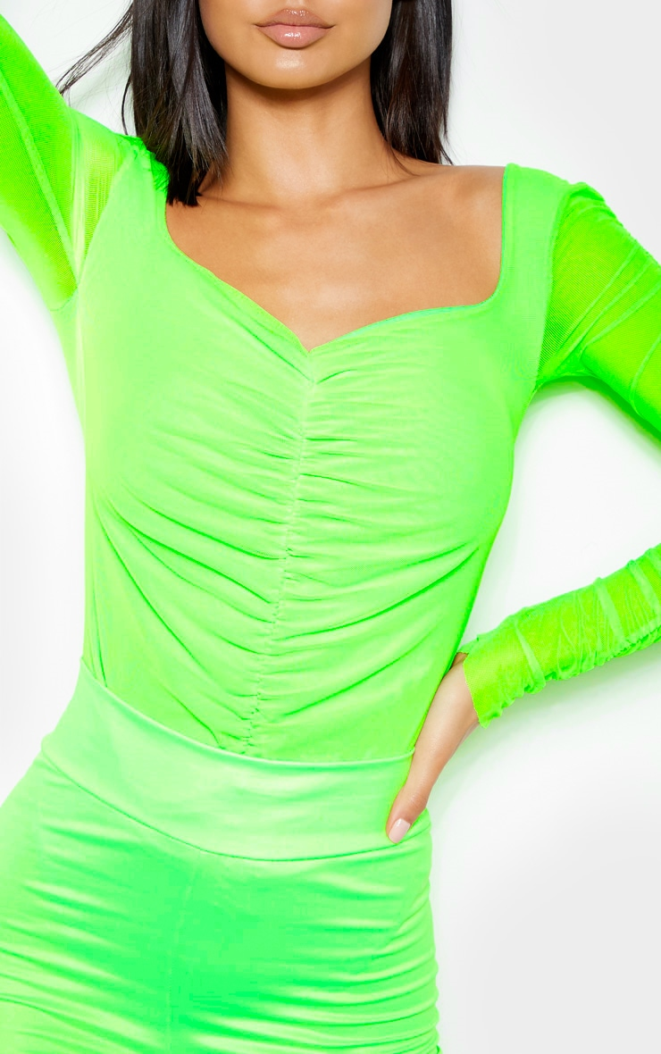 Neon Lime Mesh Ruched Detail Long Sleeve Bodysuit 6