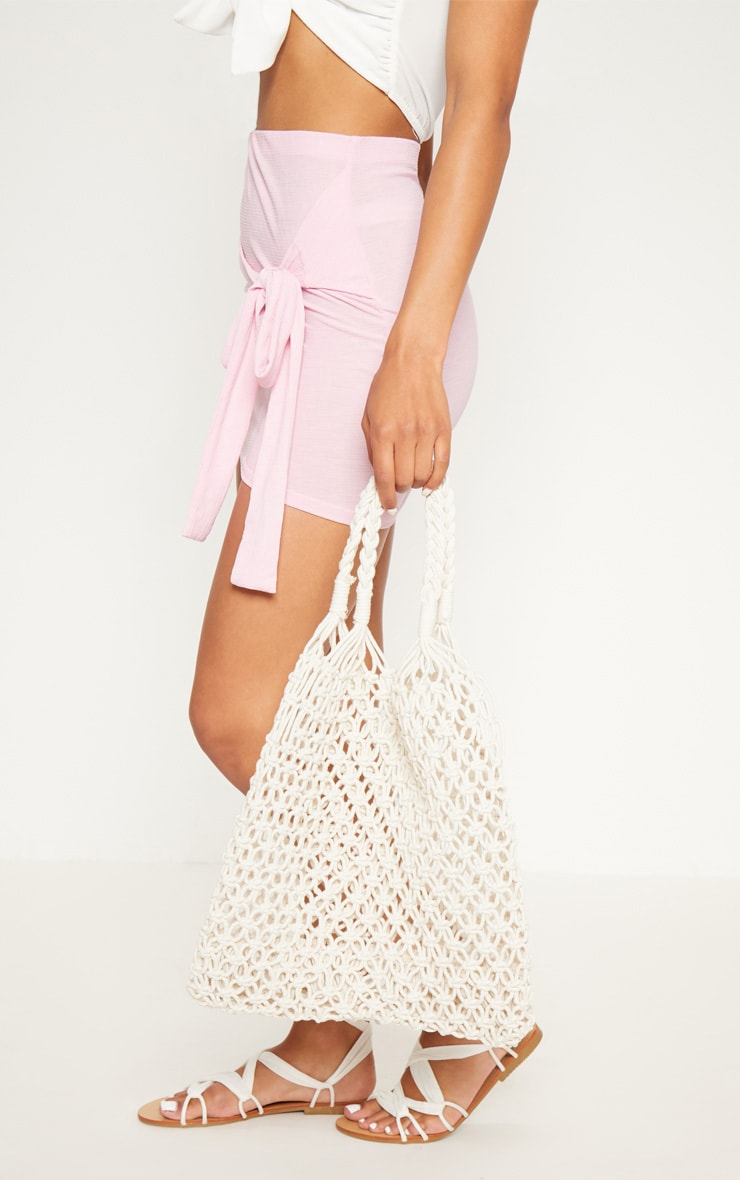 Cream String Shopper Bag