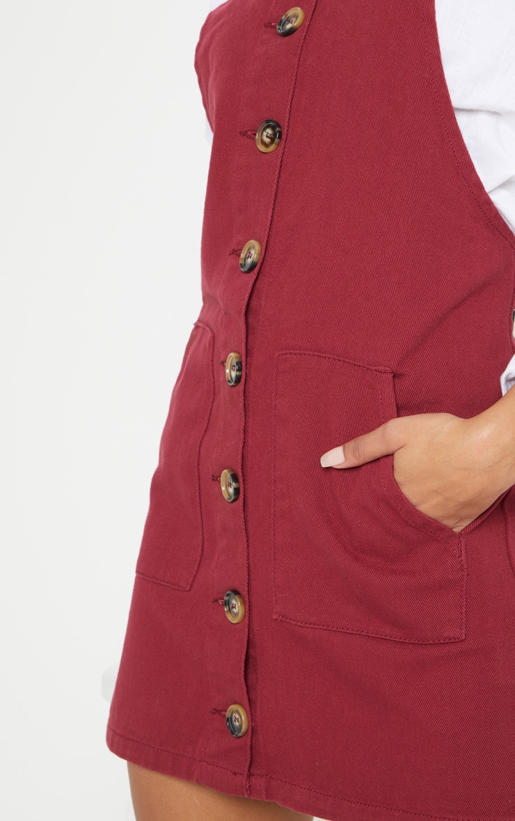 Burgundy Button Through Denim Dress 5