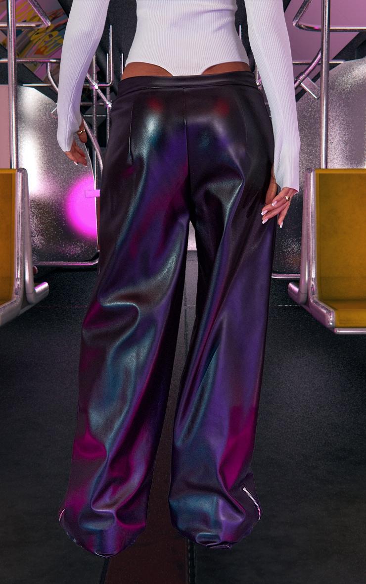 Black PU Zip Front Wide Leg Trousers 3