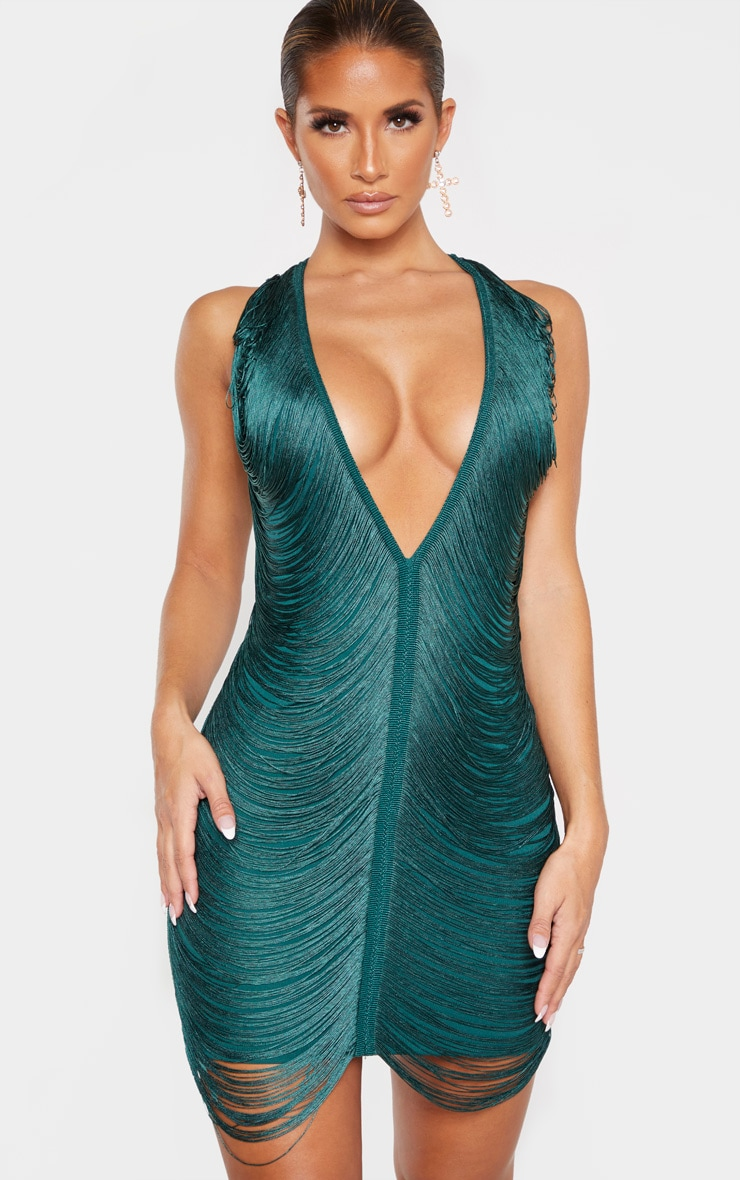 Emerald Green Extreme Plunge Tassel Bodycon Dress 1
