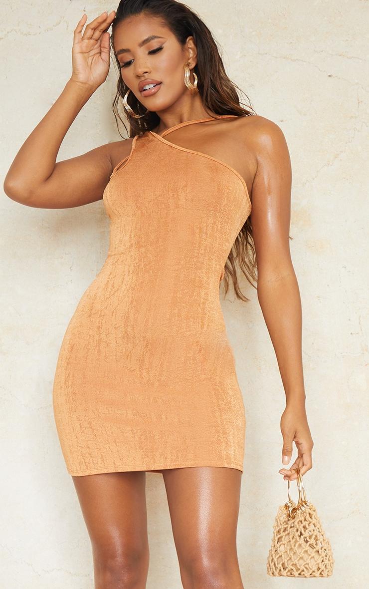 Toffee Textured Slinky One Shoulder Asymmetric Strap Detail Bodycon Dress 3