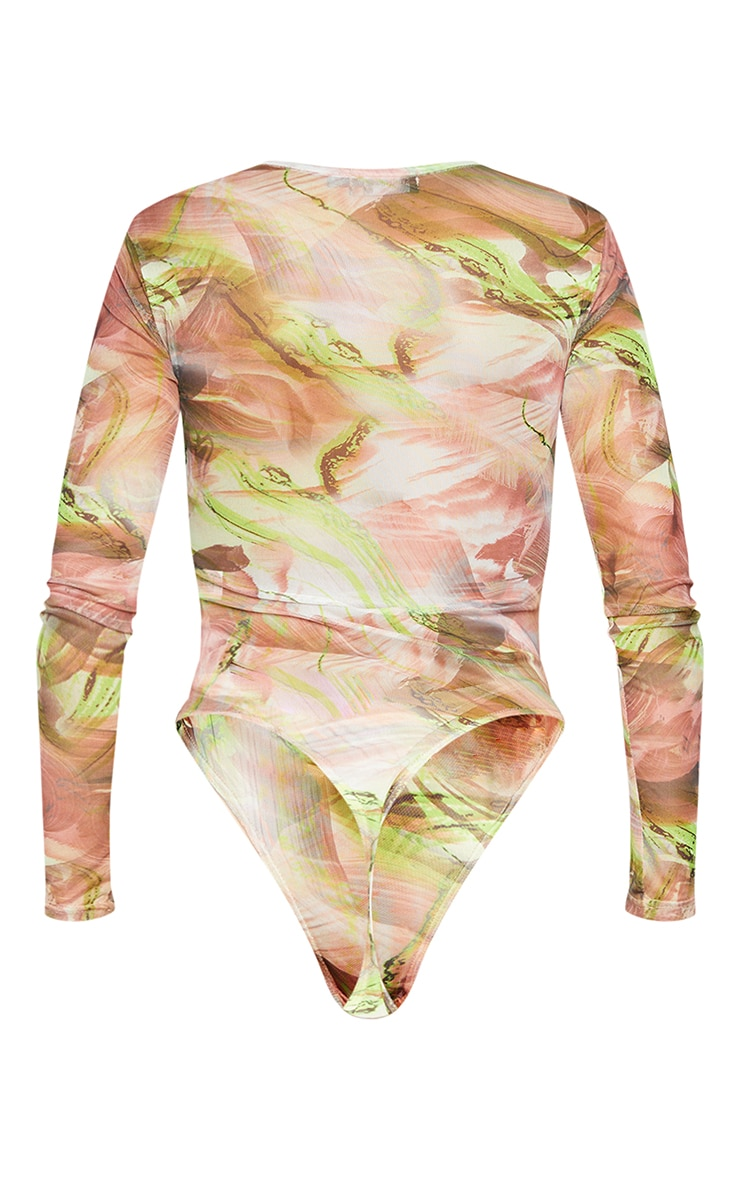Green Abstract Smoke Printed Mesh High Neck Bodysuit 6