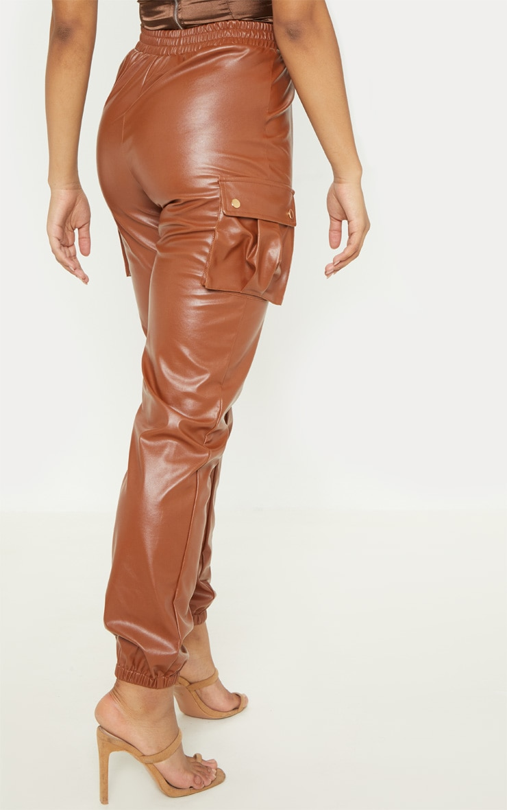 Tall Rust Faux Leather Pocket Detail Joggers  4