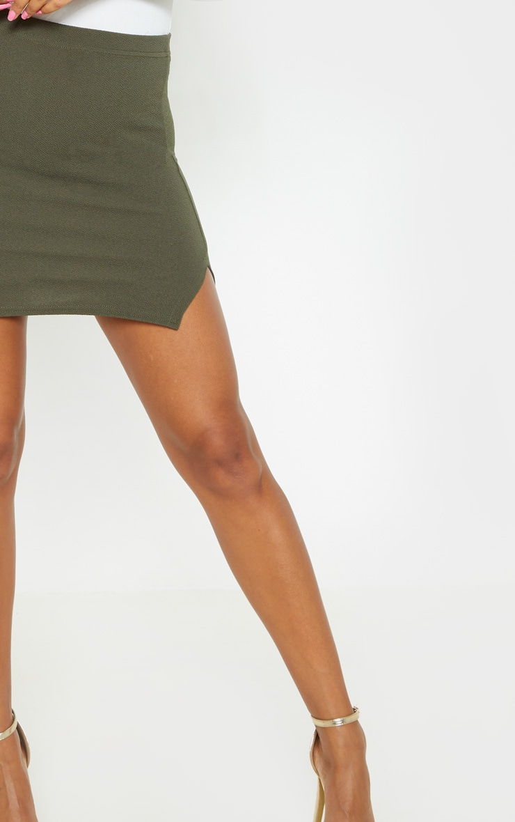 Jemmia Khaki Split Mini Skirt  6