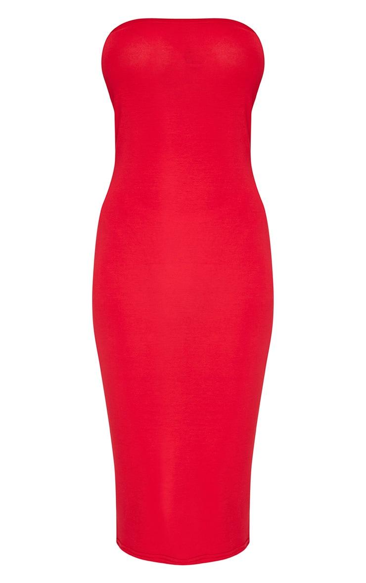 Basic robe midi bandeau rouge en jersey 3