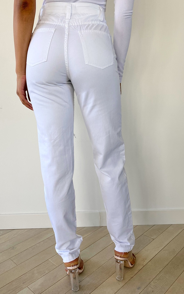 Tall White Rip Knee Mom Jean 3