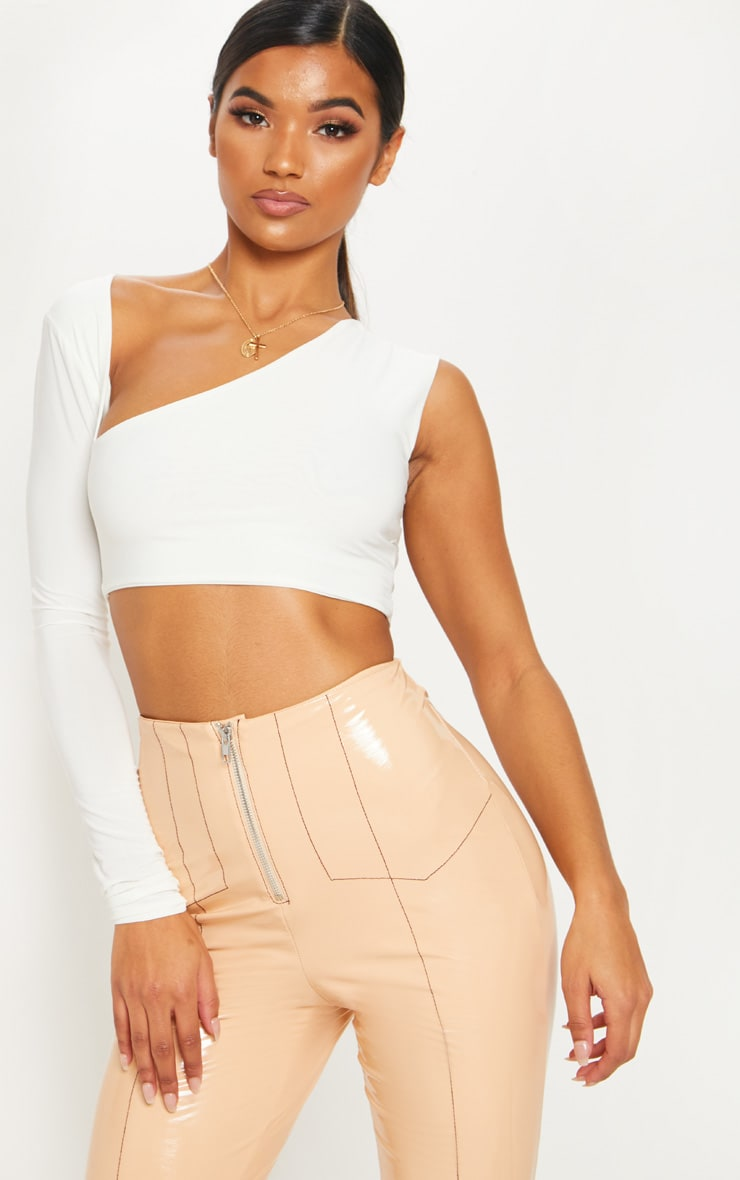 White One Shoulder Slinky Crop Top 1