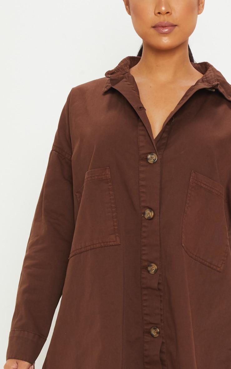 Petite Chocolate Brown Tortoise Button Oversized Denim Shirt Dress 5