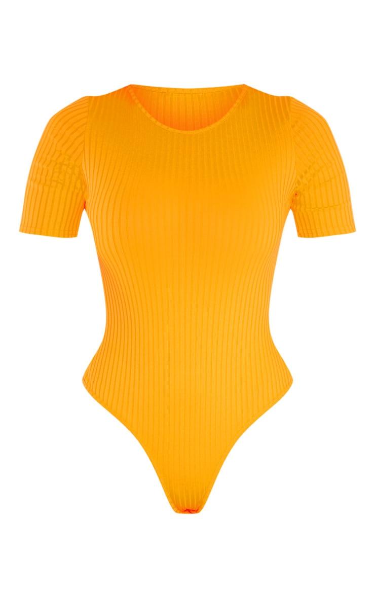 Tall Neon Orange Ribbed Short Sleeve Bodysuit  3