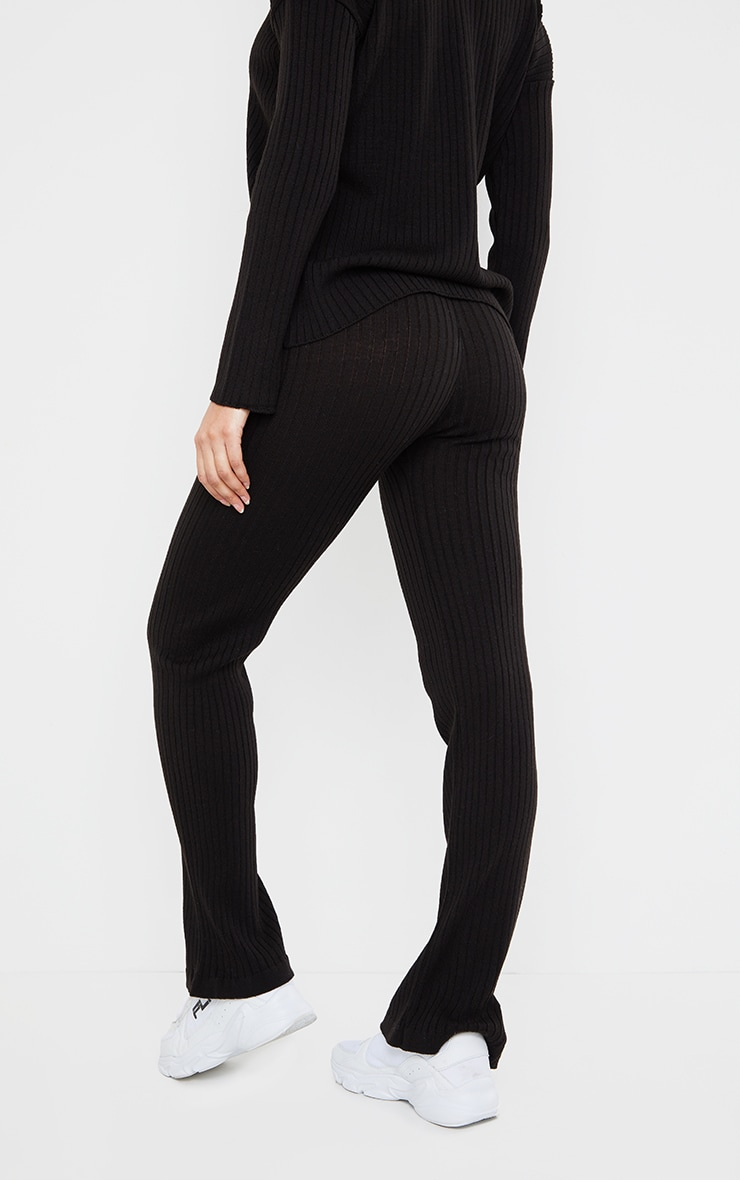 Black Ribbed Knitted Flare High Waisted Trouser 3