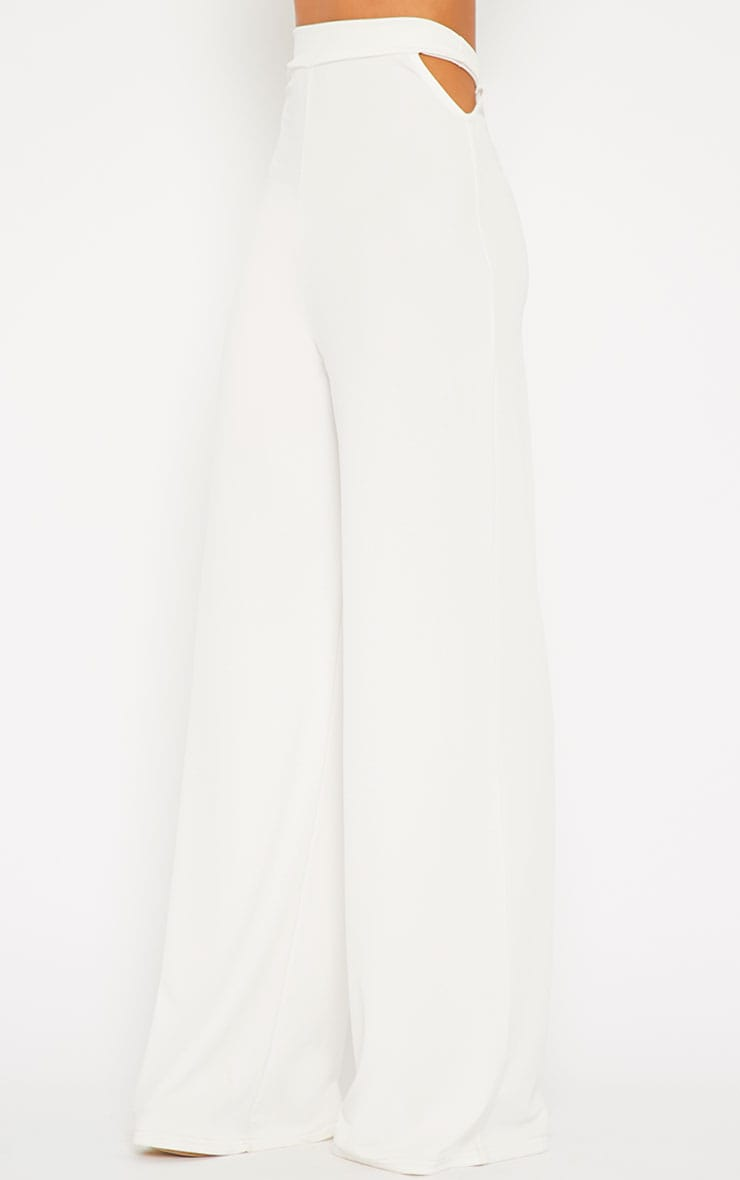 Elphina White Crepe Cut Out Trousers 3
