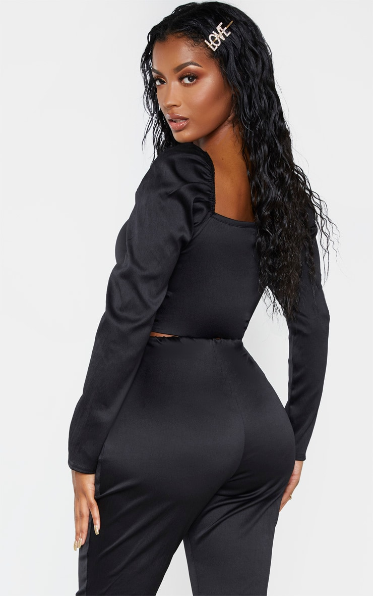 Shape Black Stretch Satin Square Neck Crop Top  2
