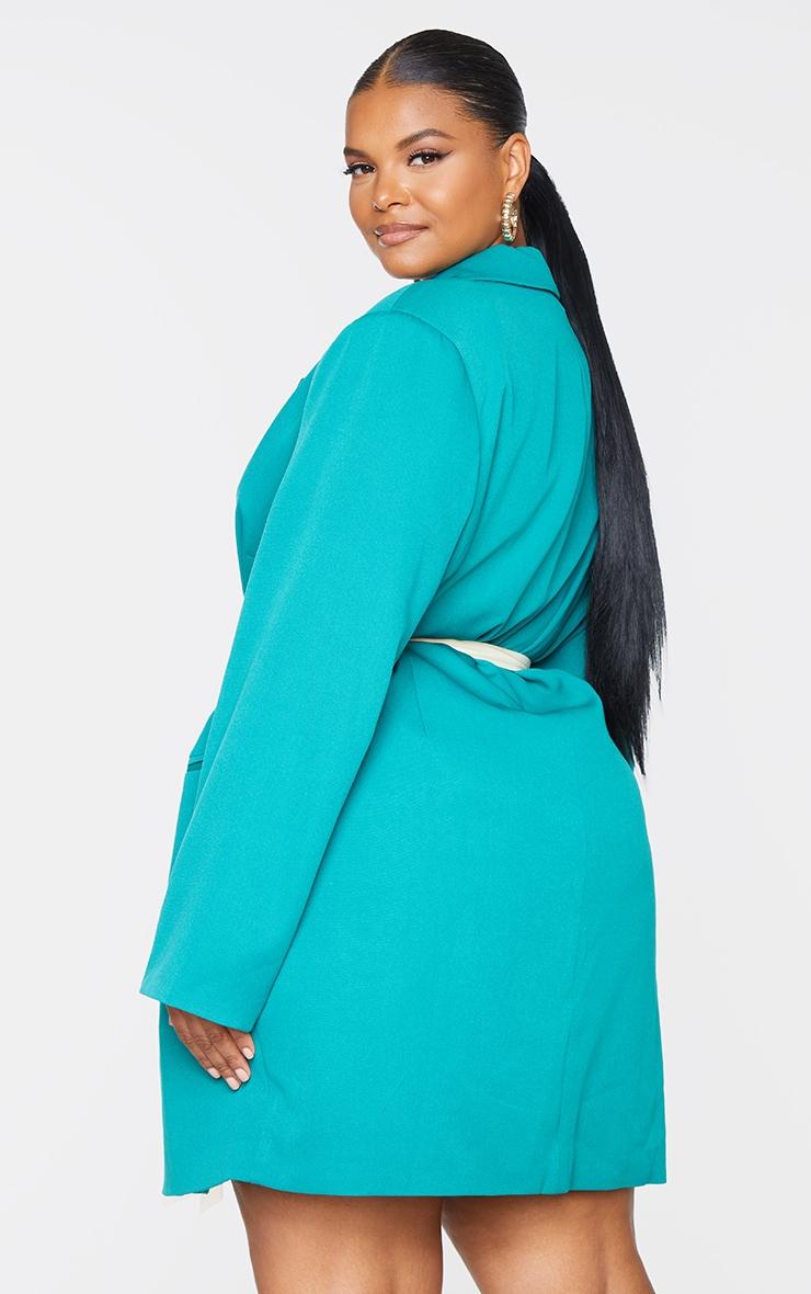 Plus Emerald Contrast Tie Waist Blazer Dress 2