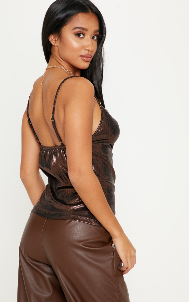 Petite Chocolate Brown Metallic Cowl Neck Cami Top 2
