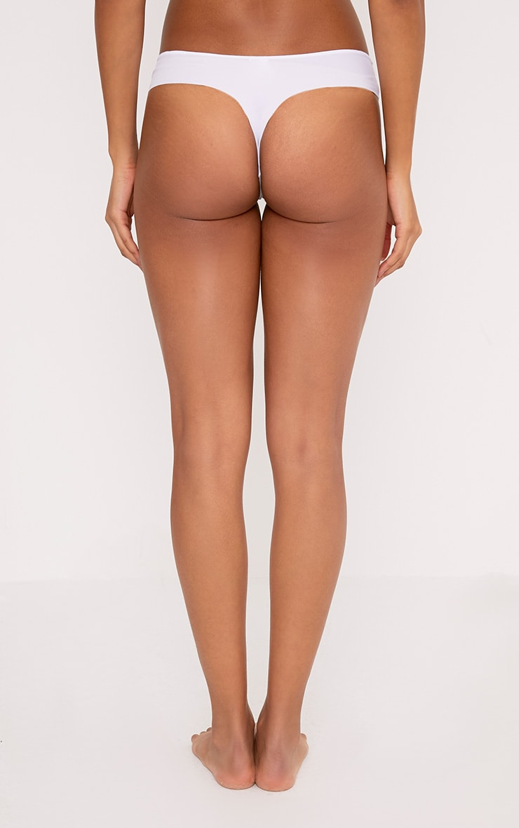 No VPL White Invisible Smoothing Thong 4