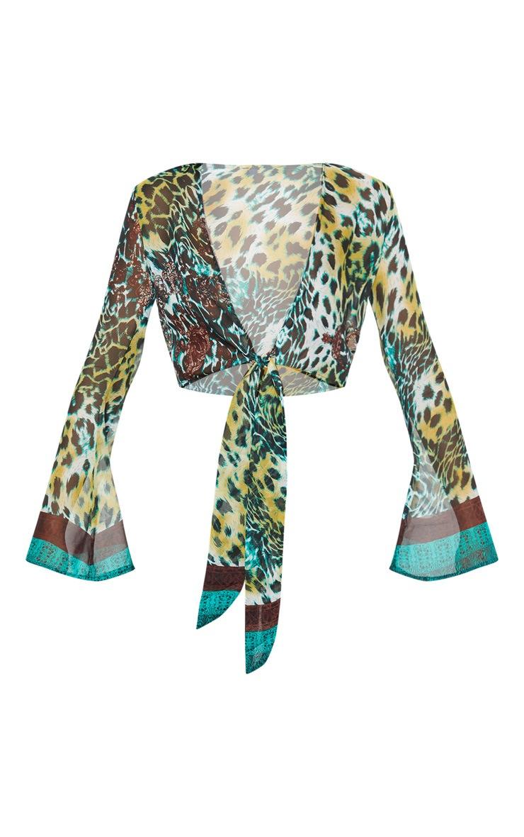 Arleena Green Sheer Print Knot Front Flare Sleeve Blouse 3