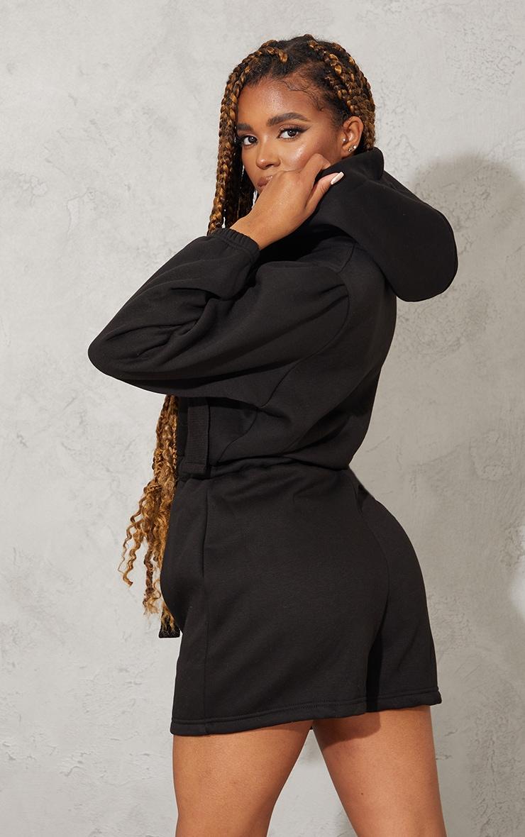 Black Tie Detail Sweat Hooded Playsuit 2