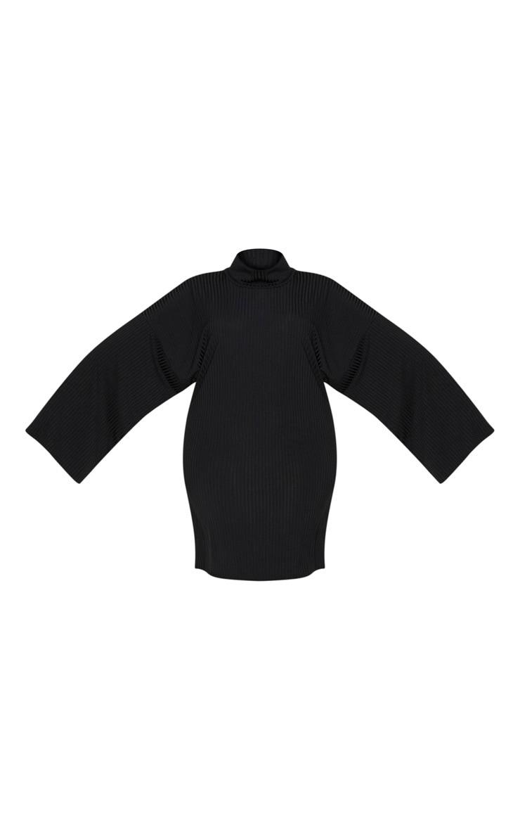 Plus Black Wide Rib High Neck Oversized Jumper Dress 3
