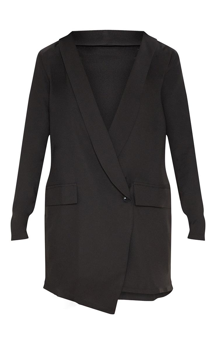 Black Asymmetric Hem Oversized Blazer Dress 3