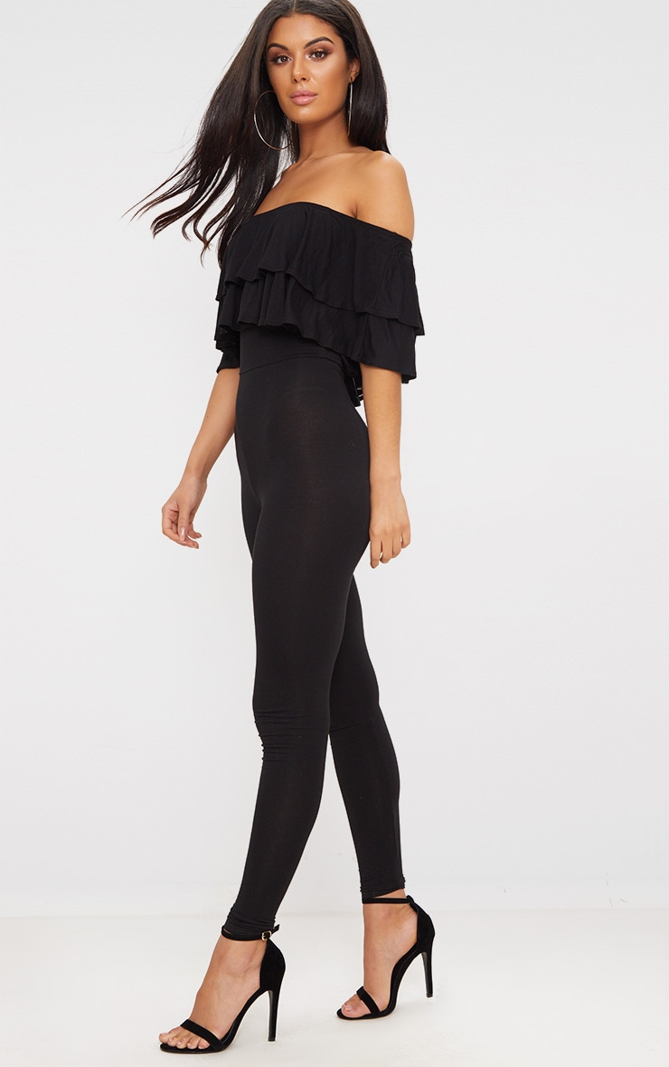 Black Jersey Double Frill Jumpsuit 4